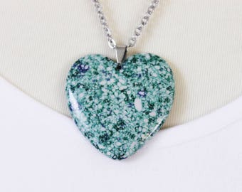 Green Jasper Heart Pendant Necklace