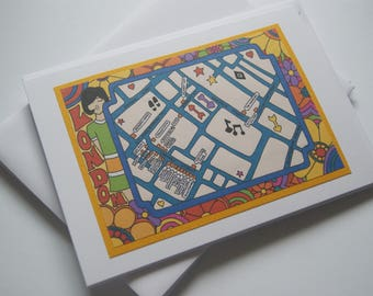 Map of 1960s London 'Carnaby Street' - Greeting Card