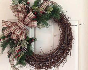 Christmas Wreath | Country Wreath | Grapevine