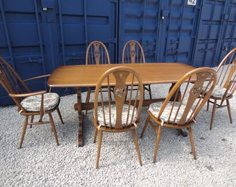 Superb Ercol Swan Back Windsor Dining Table And Chair Set Four Chairs Two Carvers Table Mint
