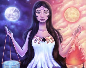 Libra - Zodiac, Astrology, 8.5x11 Fine Art Print, libra art, libra zodiac, constellation, pop surrealism