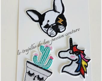 Lot 3 seconds / Patch / badges embroidered Unicorn dog cactus