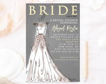 Magazine Cover Bridal shower invitation, Wedding dress bridal shower invite, gray and white elegant bridal shower dress