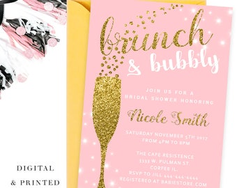 Brunch and bubbly bridal shower invitation , Brunch and bubbly, brunch bubbly, brunch bridal, PINK invitation brunch and bubbly bridal