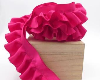 Fuchsia Ruffled Blanket Binding. Ruffle Trim. Hot Pink