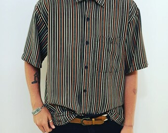 Mens retro 80s striped button up // skater style // mens festival wear size L