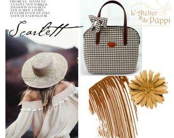 "Carried bag hand - DOTTI - gingham"", white/dark brown"