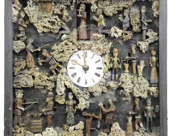 antique black forest folksy wall clock with moving figurines