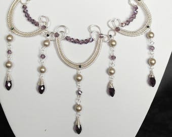 silver plate, wire wrapped, swarovski bollywood inspired necklace