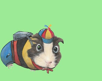 Guinea Pig Art - Guinea Pig Illustration / Cartoon / cute animal art - Boris Guinea Pig goes to school / Guinea Pig Art