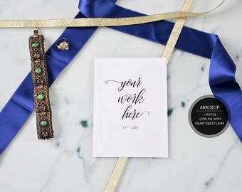 "Styled stock photography -  Wedding stationery mockup, greeting card mock up invitation, 5x7"" card jpg, psd smart objects,marble blue ribbon"