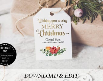 Christmas Tags Template, Printable pdf, instant download, Christmas gift tags editable, editable Template, tags DIY tags personalized