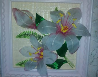 """A textile painting """"Flowers of Ukraine"""", White Orchid"""