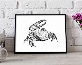 Crab poster, Crab wall art, Nautical poster, Crab wall decor, Crab print, Ocean poster