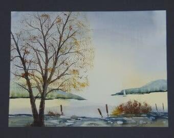 Sunrise Meadow original hand-painted watercolor