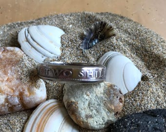 Coin ring made from a Two Shilling coin