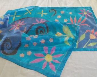 Skyblue silk scarf
