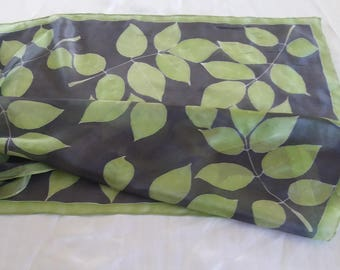 Hand painted silk scarf, leaves
