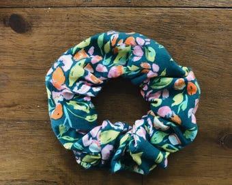 evergreen floral scrunchie