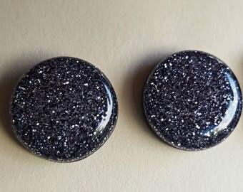 Black Charcoal Glitter 18 inch earrings