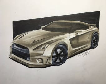 Nissan GT-R car drawing - Copic markers