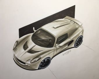 Lotus Elise car drawing - Copic markers