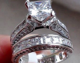 Princess Cut Diamond 925 Sterling Silver Wedding Band Engagement Ring Set