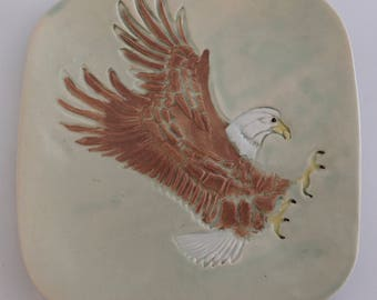 Pottery Eagle Square Plate Handmade Gift Free Shipping
