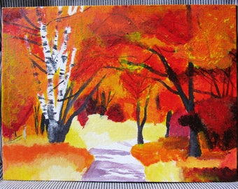 Autumn Scenery Acrylic Painting