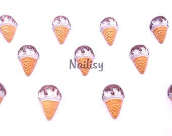 1 cabochon ice cream cone chocolate REF2083 18mm