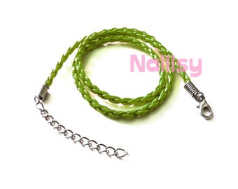 1 REF340 green braided leather Choker