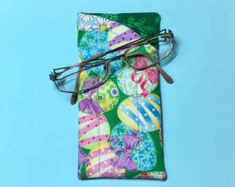 Quilted easter egg pink floral glassessunglasses fabric case quilted easter egg fabric soft casepouch with contrast negle Gallery