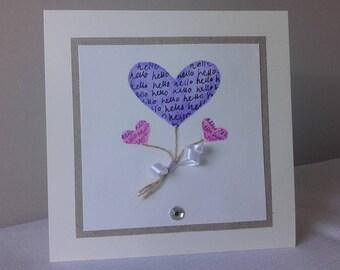 Balloon Hearts blank card purple pink pretty handmade