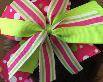 Pink Green White Polka Dots and Stripes Hair Bow