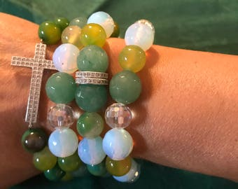 Green and white bracelets