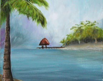 ORIGINAL acrylic painting, Tropical Beach, 8X10, by young artist