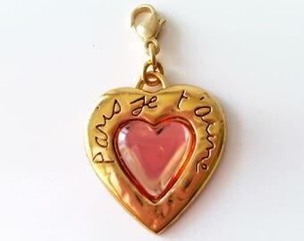 Yves Saint Laurent charm,  YSL pendant, YSL jewelry, Saint Laurent accessory, vintage charm, heart jewelry, Saint Laurent, womens jewelry