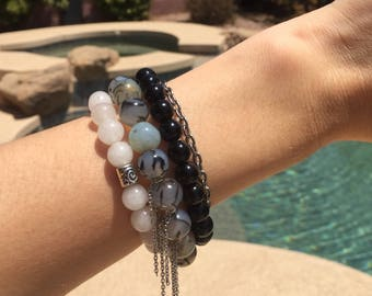 Stackable bracelet set made with stone beads