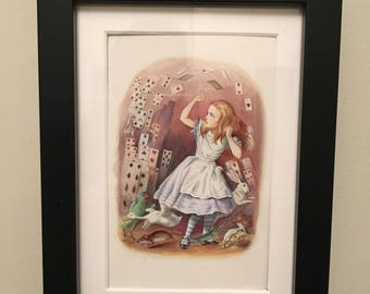 Classic Alice in Wonderland Illustration - framed - Alice with Cards