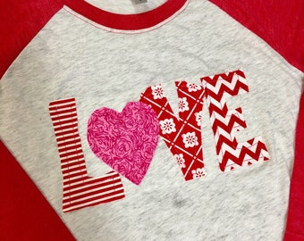 Youth size Love valentines heart Frayed Raggy Applique Raglan Tee FREE SHIPPING Choose Your Color