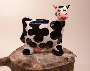 """Ceramic Cow """"Dalmatine"""" Statue Turov Art Pottery Collectible"""