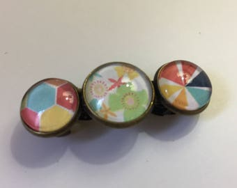 """Cabochons """"70's flowers"""" hair clip"""