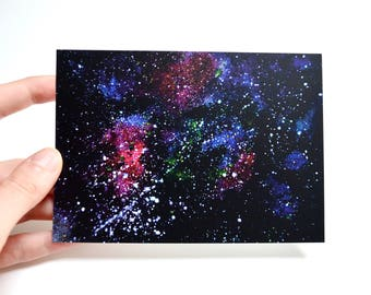 Space art universe little christmas gift 4x6 card stars painting black sky original print card birthday card boyfriend romantic postcard