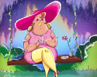 Big Mama's canvas artwork enjoying a cup of tea