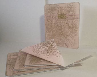 Gilded Pink - Greeting Card - Set of 4 - Rounded Corners - Embossed