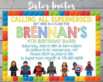 Superhero Lego Birthday Invitation, Superhero Invitation, Lego Invitation, Superheroes lego birthday party
