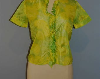 Chartreuse Mod 60s Frill Nylon Blouse, Intense Jazzy Bold Colour, Geek GIrl, Secretary Short Sleeve Shirt, Easy Care Wash and Wear