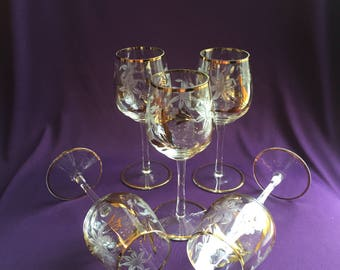 Set of five vintage etched glass wine glasses with gold trim