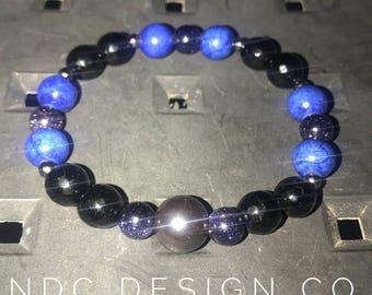 Black and blue hematite bracelet