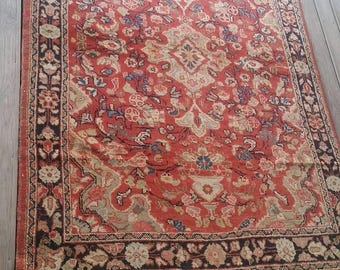 Vintage Turkish rug. Hand knotted type. Over 80 years old. Made in usak